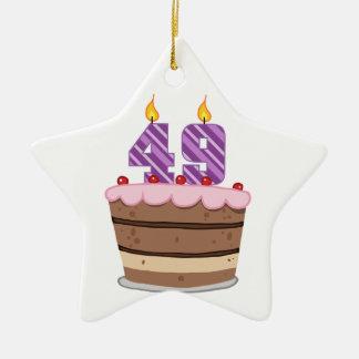 Age 49 on Birthday Cake Ceramic Star Decoration