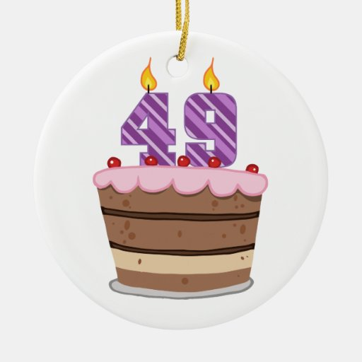 Age 49 on Birthday Cake Ornaments