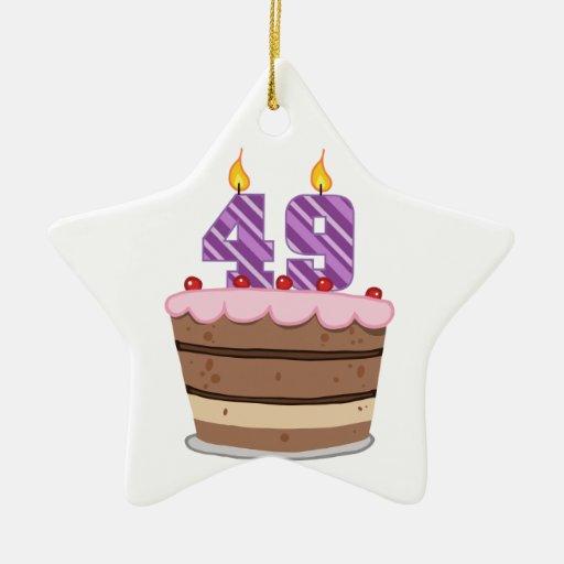 Age 49 on Birthday Cake Christmas Ornament