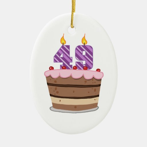 Age 49 on Birthday Cake Ornament
