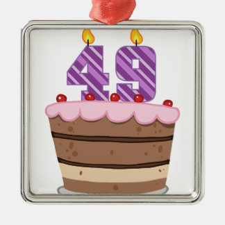 Age 49 on Birthday Cake Square Metal Christmas Ornament