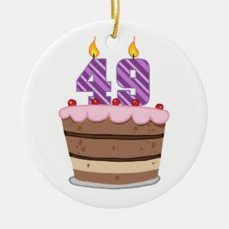 Age 49 on Birthday Cake Round Ceramic Decoration