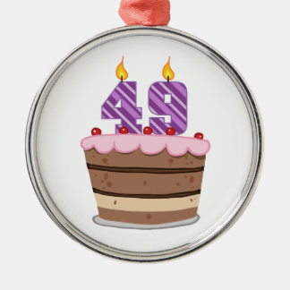 Age 49 on Birthday Cake Silver-Colored Round Decoration