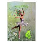 Age 4, flower fairy birthday card