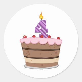 Age 4 on Birthday Cake Round Sticker