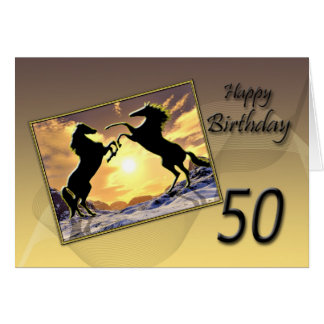 Age 50 a Birthday card with rearing horses