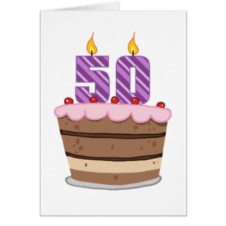 Age 50 on Birthday Cake Cards