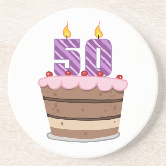 Age 50 on Birthday Cake Coaster