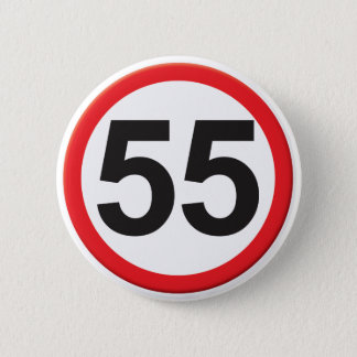 Age 55 6 cm round badge