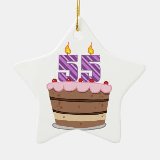 Age 55 on Birthday Cake Christmas Ornament