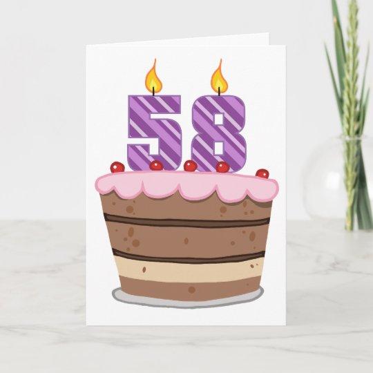 Peachy Age 58 On Birthday Cake Card Zazzle Co Uk Personalised Birthday Cards Xaembasilily Jamesorg