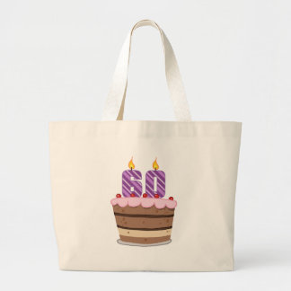 Age 60 on Birthday Cake Canvas Bag