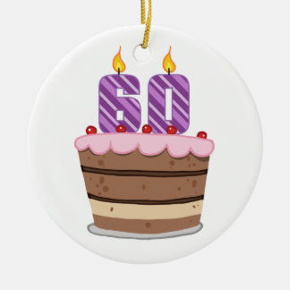 Age 60 on Birthday Cake Christmas Ornament