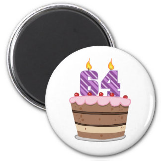 Age 64 on Birthday Cake 6 Cm Round Magnet