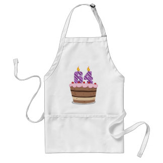 Age 64 on Birthday Cake Standard Apron