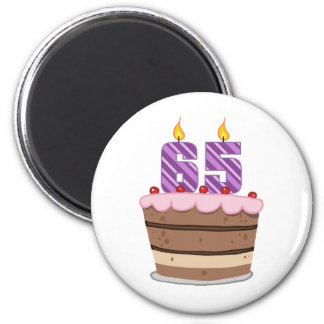 Age 65 on Birthday Cake 6 Cm Round Magnet