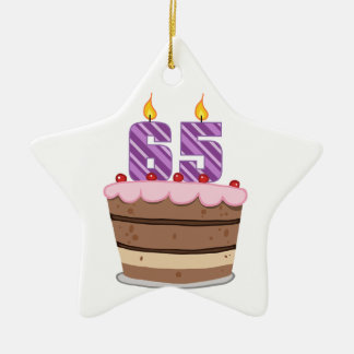 Age 65 on Birthday Cake Christmas Ornament