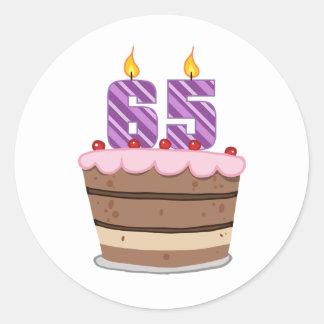 Age 65 on Birthday Cake Classic Round Sticker