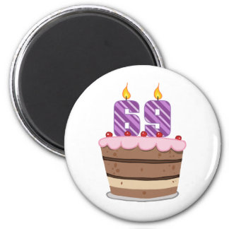 Age 69 on Birthday Cake 6 Cm Round Magnet