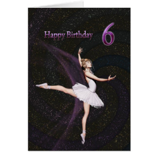 Age 6, a ballerina birthday card