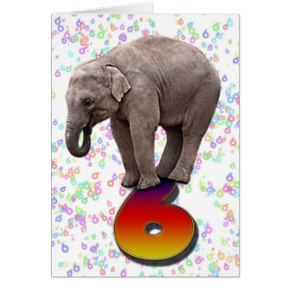 Age 6, a happy elephants birthday card