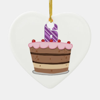 Age 6 on Birthday Cake Christmas Ornament