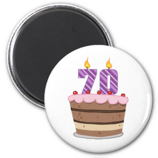 Age 70 on Birthday Cake 6 Cm Round Magnet