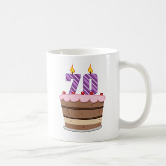 Age 70 on Birthday Cake Basic White Mug