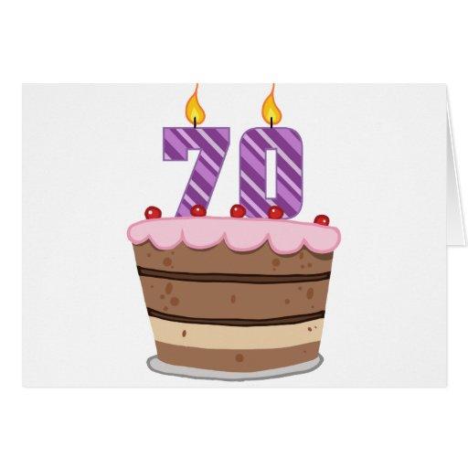 Age 70 on Birthday Cake Cards