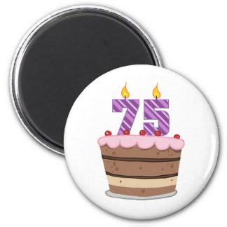 Age 75 on  Birthday Cake 6 Cm Round Magnet
