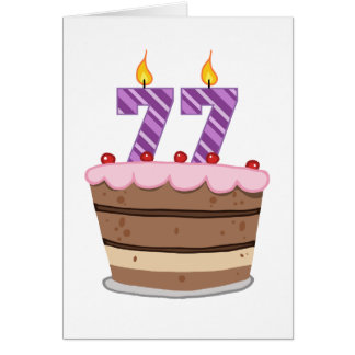 Age 77 on Birthday Cake Card