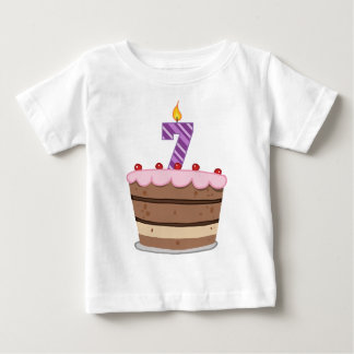 Age 7 on Birthday Cake Baby T-Shirt
