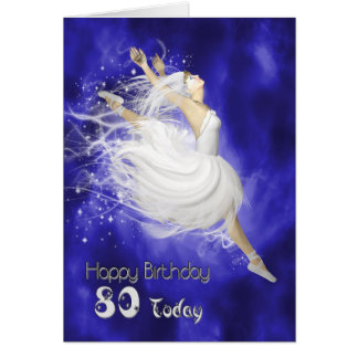 Age 80, leaping ballerina birthday card