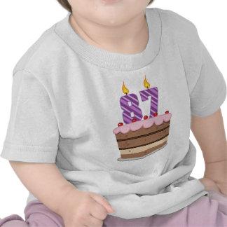 Age 87 on Birthday Cake Tee Shirt