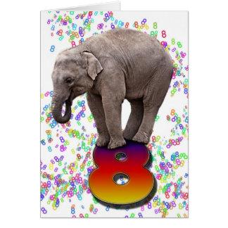 Age 8, a happy elephants birthday card