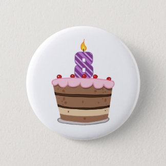 Age 8 on Birthday Cake 6 Cm Round Badge