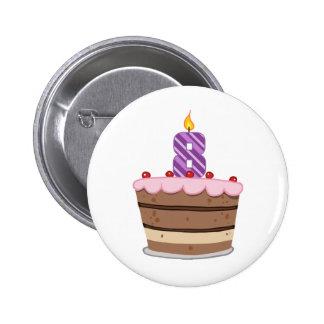 Age 8 on Birthday Cake 6 Cm Round Badge