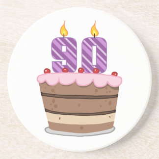 Age 90 on Birthday Cake Sandstone Coaster