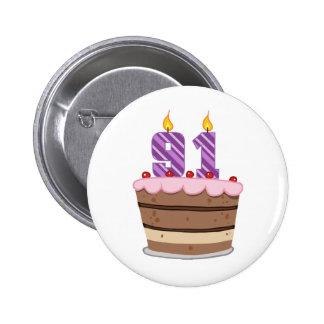 Age 91 on Birthday Cake 6 Cm Round Badge