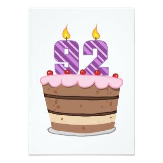 Age 92 on Birthday Cake 13 Cm X 18 Cm Invitation Card