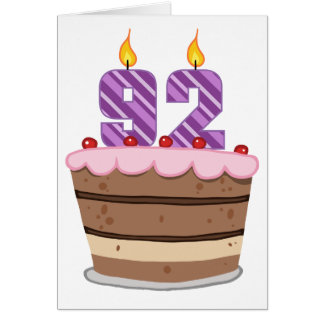 Age 92 on Birthday Cake Greeting Cards