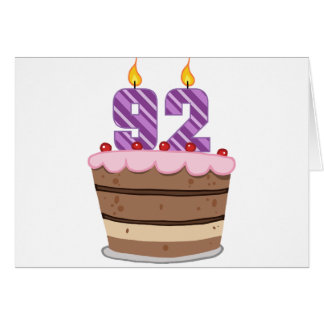 Age 92 on Birthday Cake Greeting Card