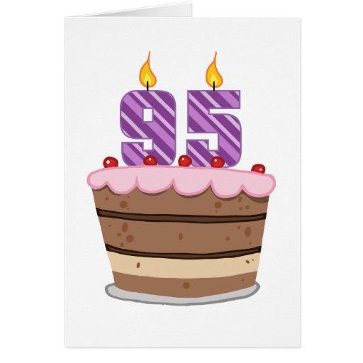 Age 95 on Birthday Cake Greeting Cards
