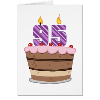 Age 95 on Birthday Cake Greeting Card