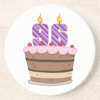 Age 96 on Birthday Cake Beverage Coasters