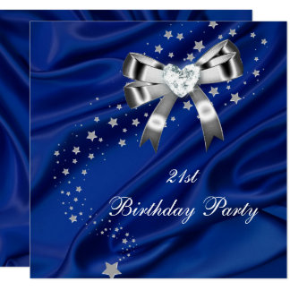 Age Birthday Party Blue Silver Card