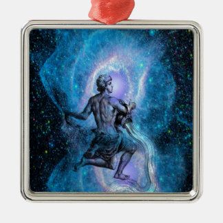 Age of Aquarius Square Metal Christmas Ornament