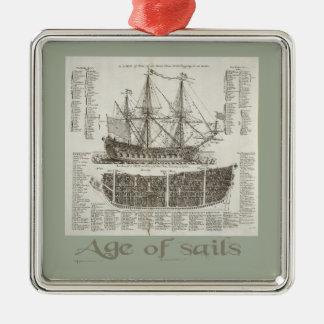 Age of Sails Silver-Colored Square Decoration