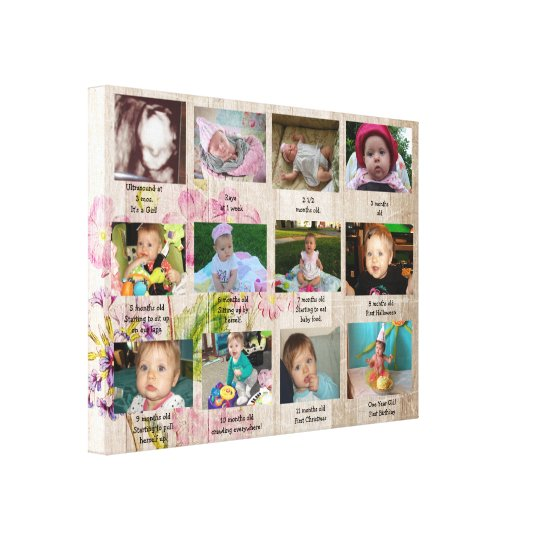 Age Progression First Year Baby Photo Art Canvas