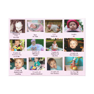 Age Progression First Year Baby Photo Art Canvas Print